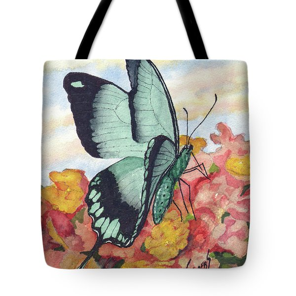 Tote Bag featuring the painting Butterfly 180727 by Sam Sidders