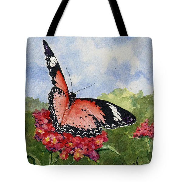 Tote Bag featuring the painting Butterfly - 180709 by Sam Sidders