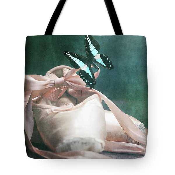 Butterfly And Ballerina Pointe Shoes Tote Bag
