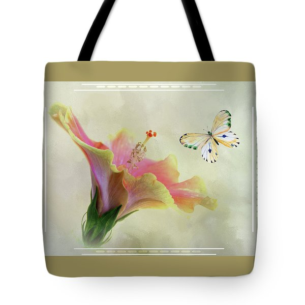 Butterfly And Fiesta Hibiscus Tote Bag