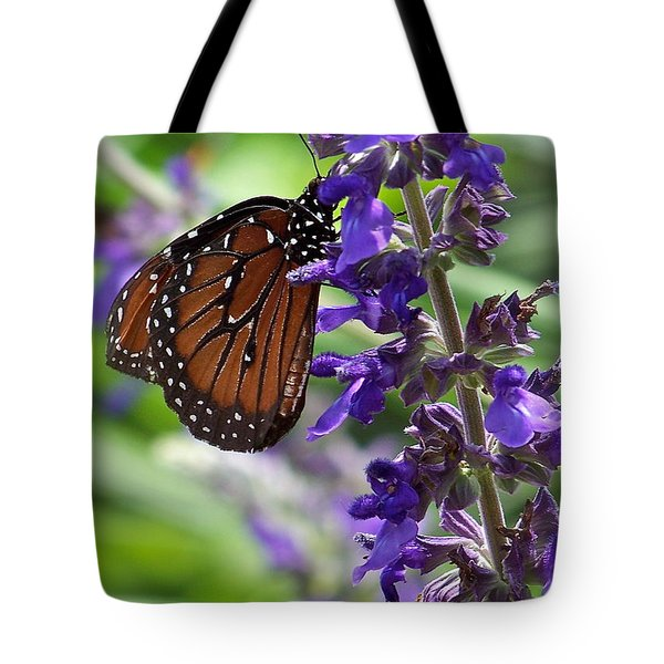 Tote Bag featuring the photograph Butterfly And Purple Flowers by Carol  Bradley