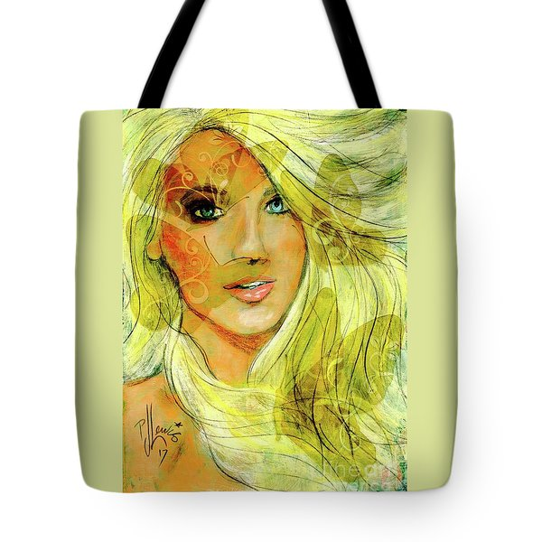 Tote Bag featuring the painting Butterfly Blonde by P J Lewis