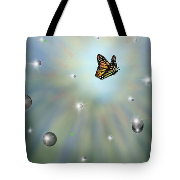 Tote Bag featuring the digital art Butterfly Bubbles by Darren Cannell