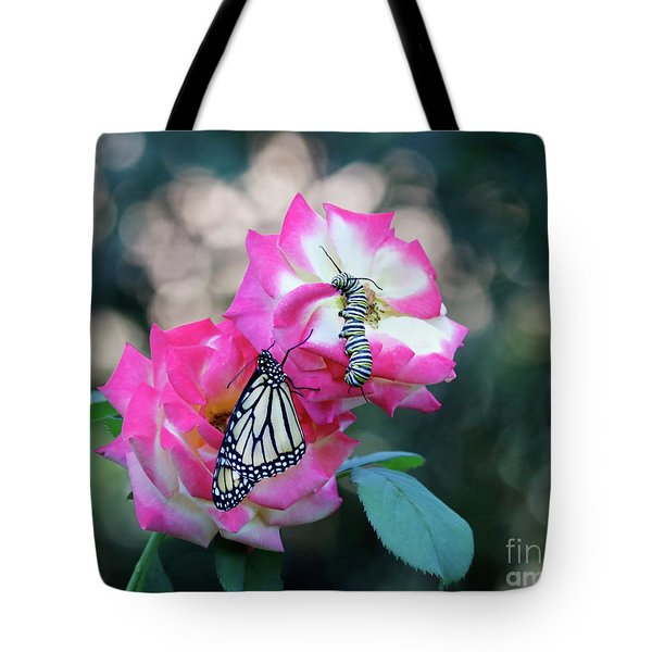 Butterfly Caterpillar And Pink Roses Photo Tote Bag