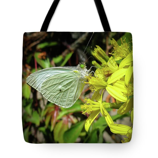 Butterfly Feasting On Yellow Flowers Tote Bag