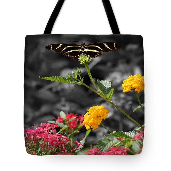 Tote Bag featuring the photograph Butterfly Garden 05 - Zebra Heliconian by E B Schmidt