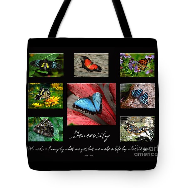 Butterfly Generosity Collage Tote Bag by Diane E Berry