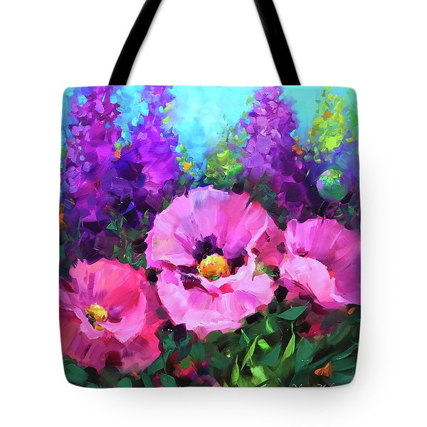 Butterfly Haven Pink Poppies Tote Bag