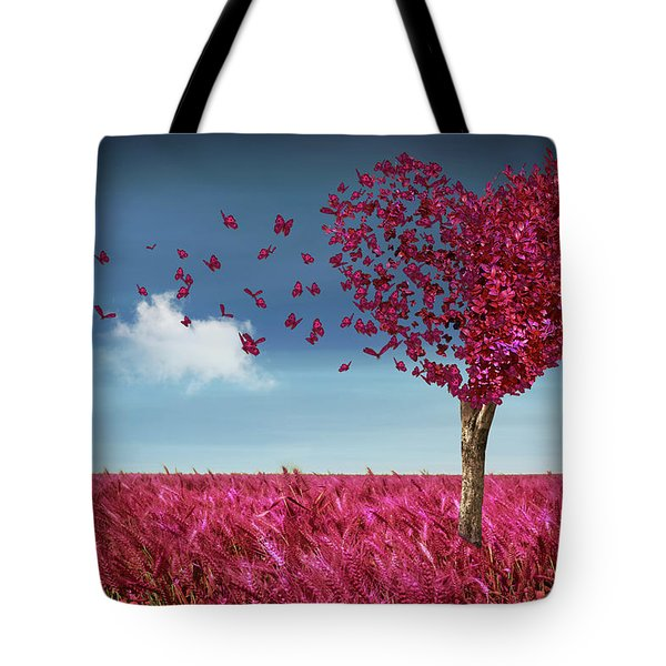Butterfly Heart Tree Tote Bag