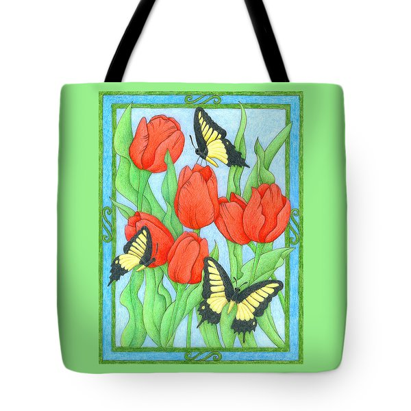 Butterfly Idyll-tulips Tote Bag