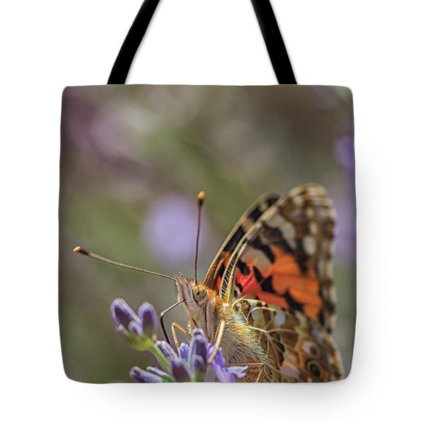 Tote Bag featuring the photograph Butterfly In Close Up by Patricia Hofmeester