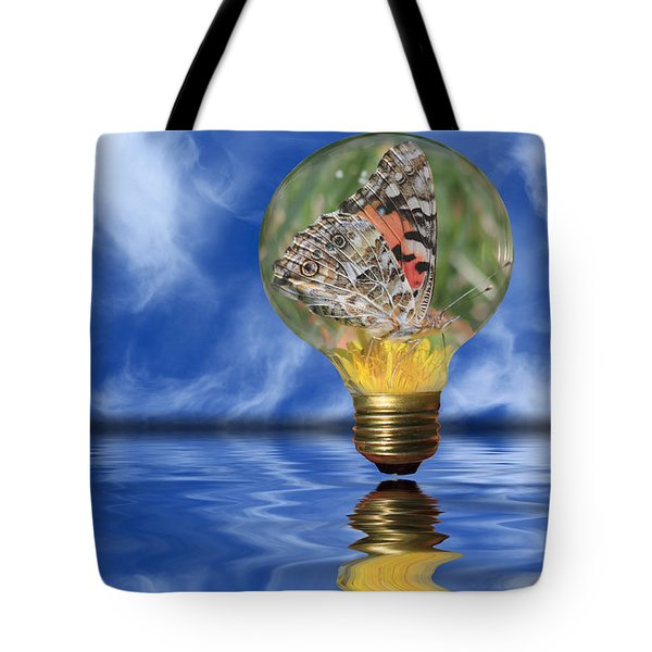 Butterfly In Lightbulb - Landscape Tote Bag