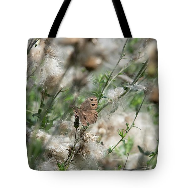 Butterfly In Puffy Seed Heads Tote Bag