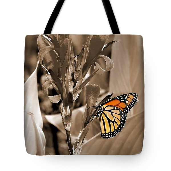 Butterfly In Sepia Tote Bag by Lauren Radke