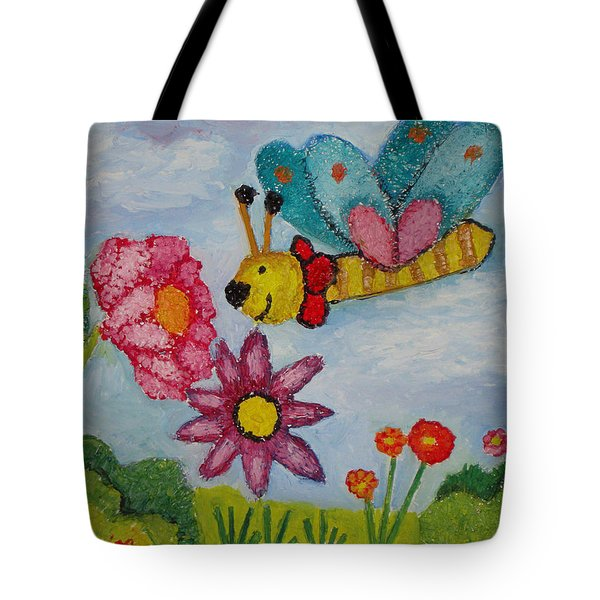 Butterfly In The Field Tote Bag by Ioulia Sotiriou