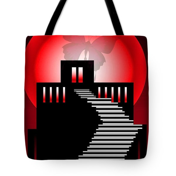 Tote Bag featuring the digital art Butterfly In The Moon by Gayle Price Thomas