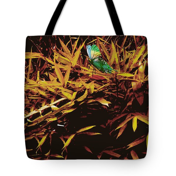 Tote Bag featuring the digital art Butterfly Landscape by Asok Mukhopadhyay