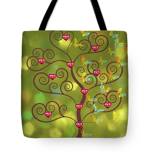 Butterfly Of Heart Tree Tote Bag by Kim Prowse