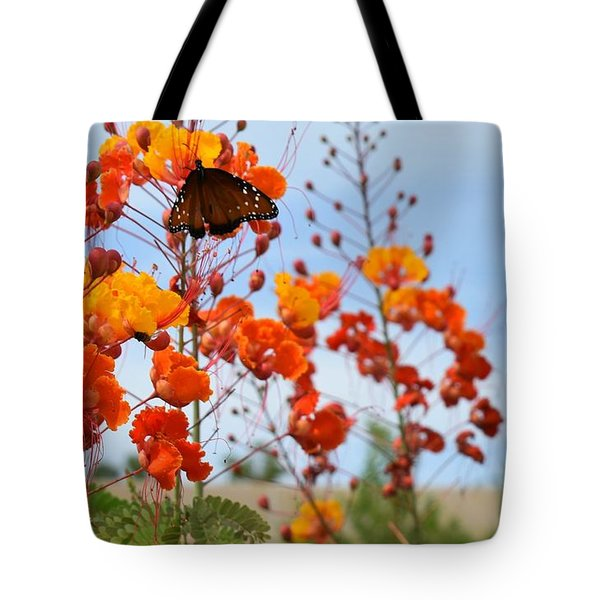 Butterfly On Bird Of Paradise Tote Bag