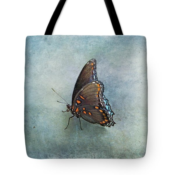 Tote Bag featuring the photograph Butterfly On Blue by Sandy Keeton
