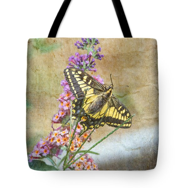 Butterfly On Butterfly Bush Tote Bag by Angie Vogel