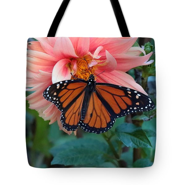 Butterfly On Dahlia Tote Bag