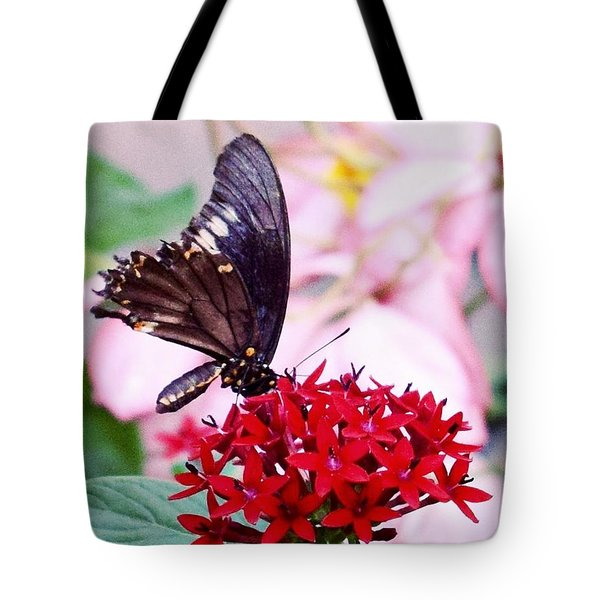 Black Butterfly On Red Flower Tote Bag by Sandy Taylor