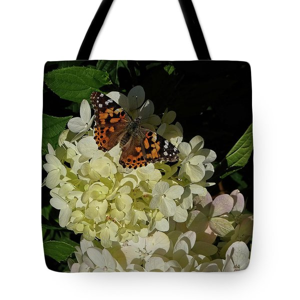 Butterfly On Hydrangea Tote Bag