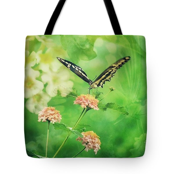 Butterfly On Lantana Montage Tote Bag