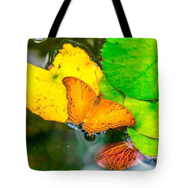 Butterfly On Lilies Tote Bag by Jerry Cahill