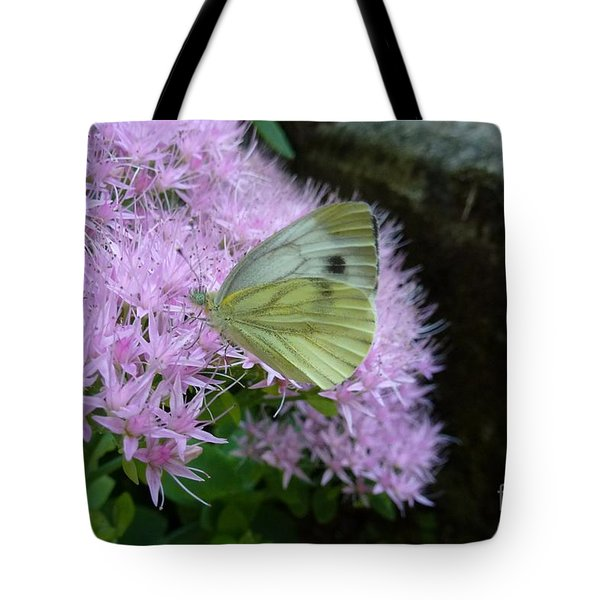 Butterfly On Mauve Flowers Tote Bag