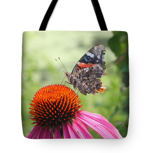 Butterfly On Pink Echinacea Tote Bag