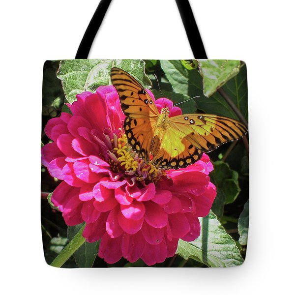 Butterfly On Pink Flower Tote Bag by Mark Barclay