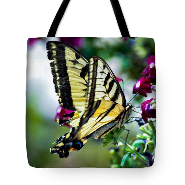 Butterfly On Purple Flowers Tote Bag