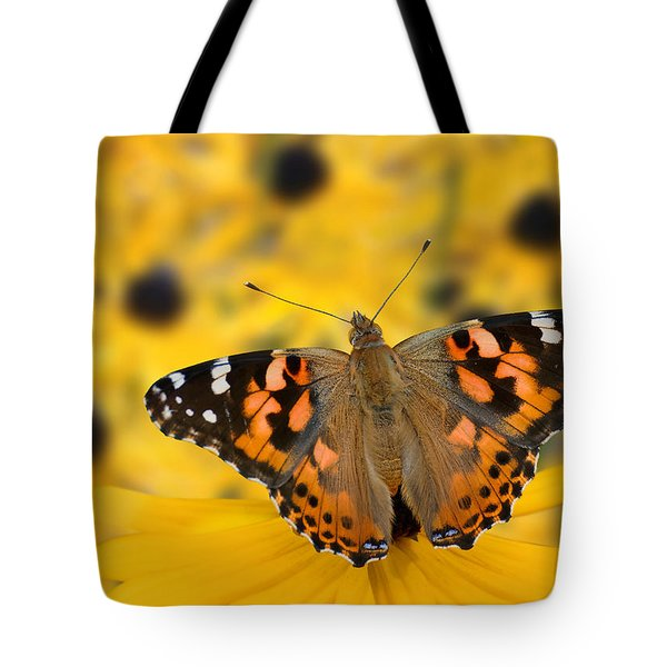 Butterfly On Rudbeckia Tote Bag by Joe Bonita
