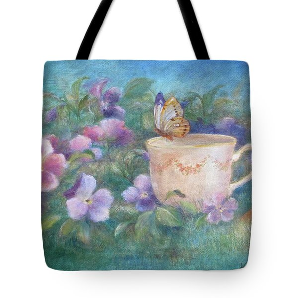 Butterfly On Teacup Tote Bag by Judith Cheng