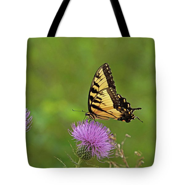 Tote Bag featuring the photograph Butterfly On Thistle by Sandy Keeton