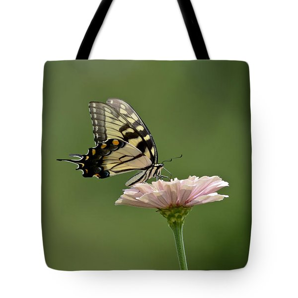 Tote Bag featuring the photograph Butterfly On Zinnia by Wanda Krack