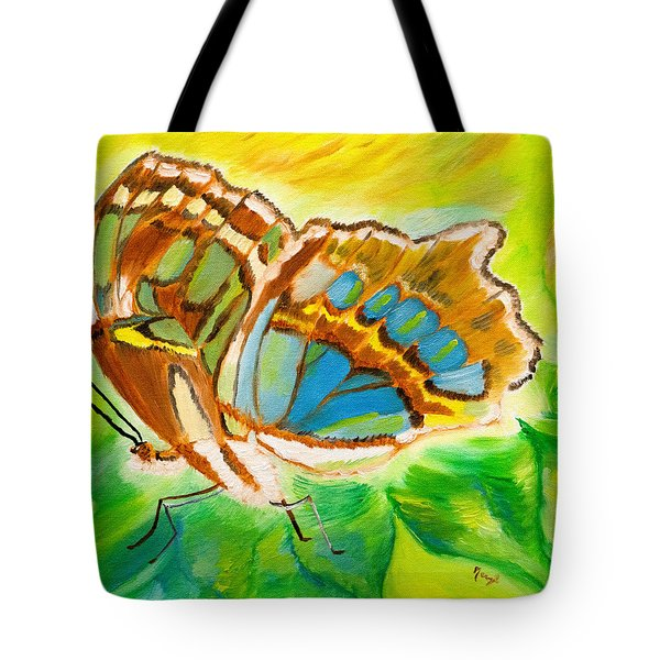 Malachite Butterfly Delight Tote Bag
