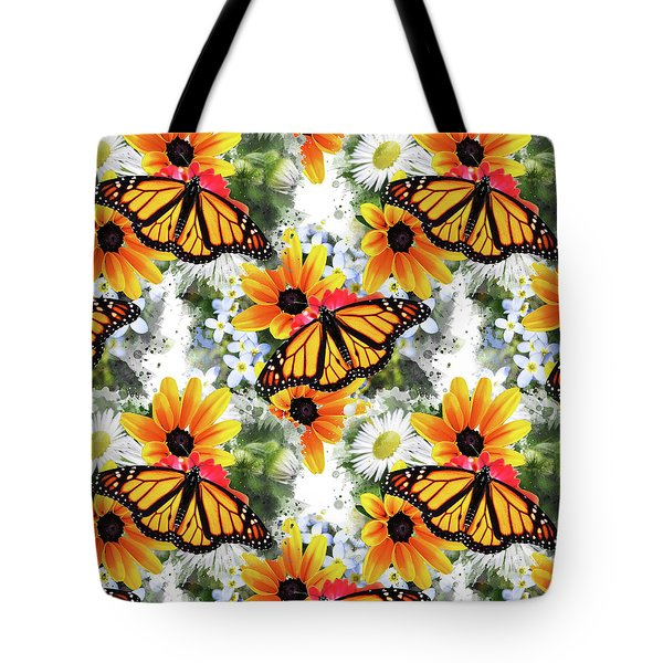 Tote Bag featuring the mixed media Butterfly Pattern by Christina Rollo