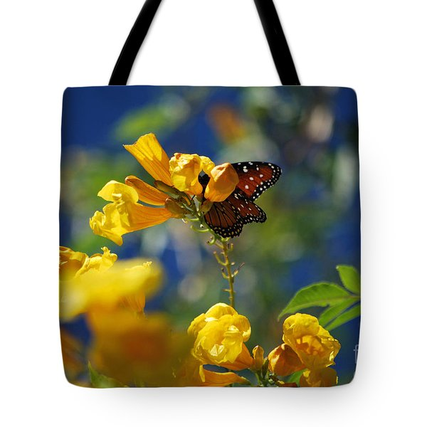 Butterfly Pollinating Flowers  Tote Bag by Donna Greene