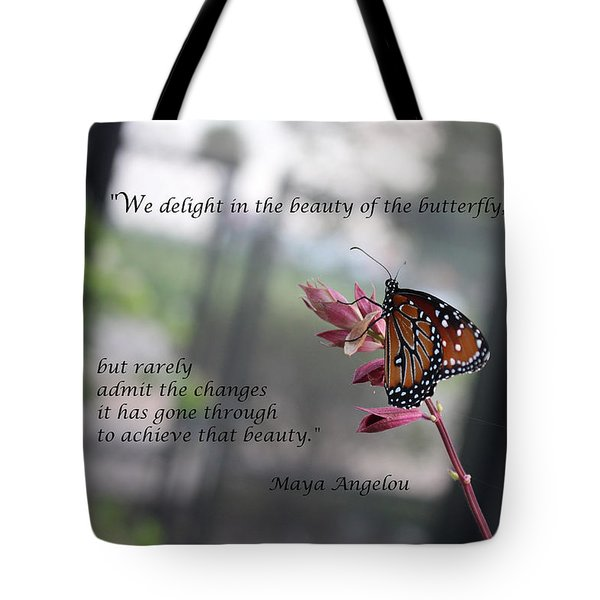 Butterfly Quote Art Print Tote Bag by Ella Kaye Dickey