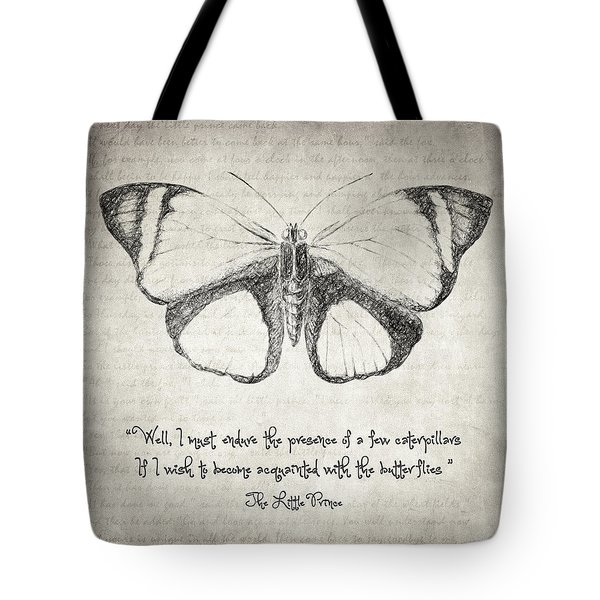 Butterfly Quote - The Little Prince Tote Bag