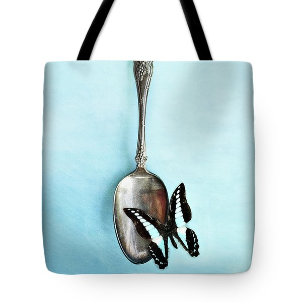 Butterfly Resting On Antique Spoon Tote Bag