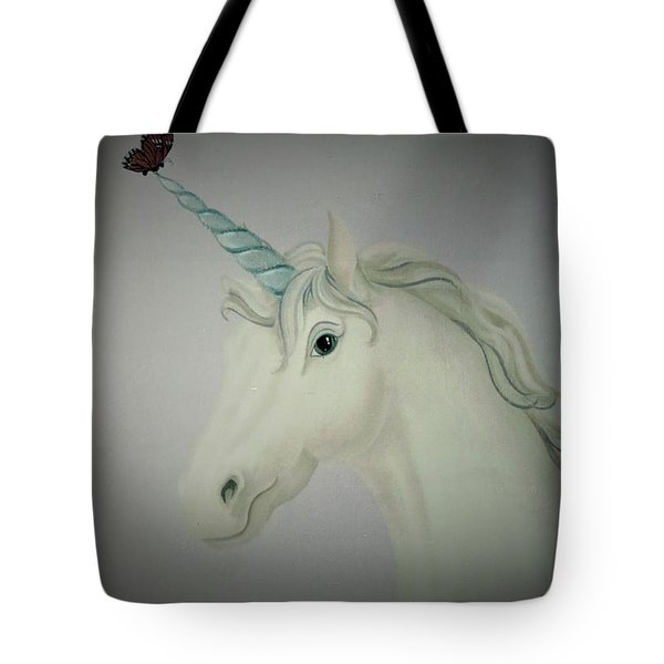 Butterfly Resting On Unicorn Tote Bag