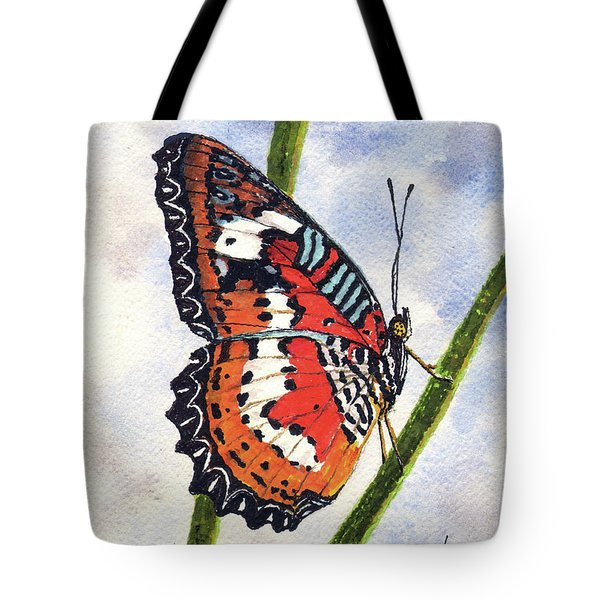Tote Bag featuring the painting Butterfly - 171012 by Sam Sidders