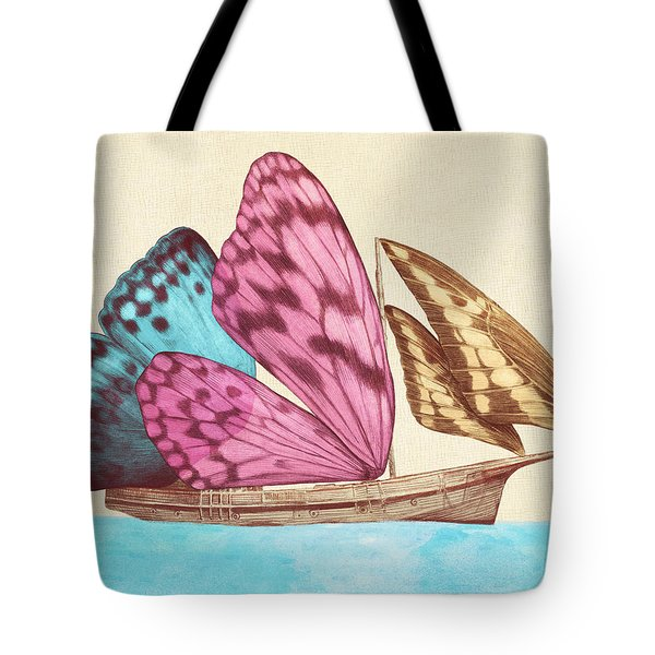 Butterfly Ship Tote Bag by Eric Fan