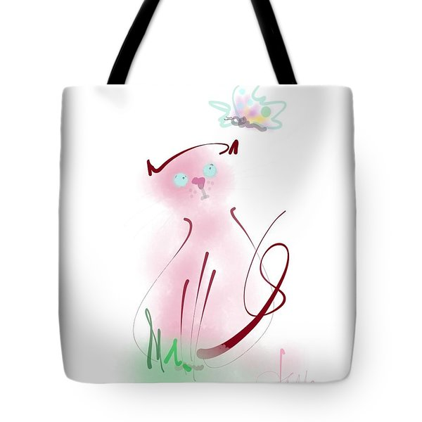Tote Bag featuring the mixed media Butterfly Surprise by Larry Talley