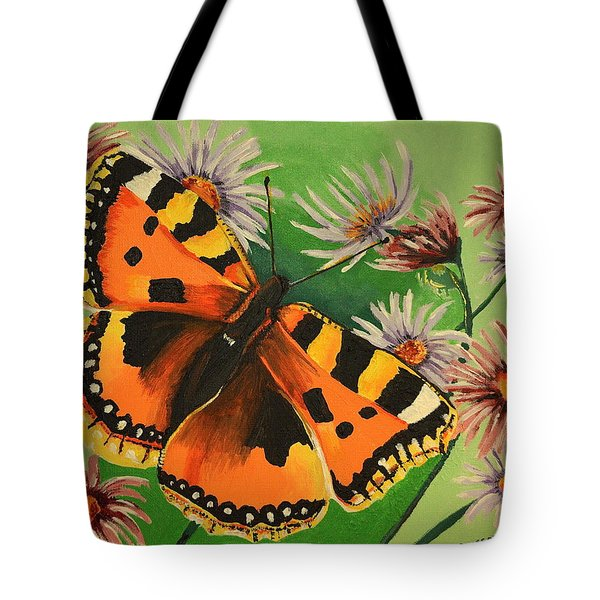 Tote Bag featuring the painting Butterfly With Asters by Donna Blossom