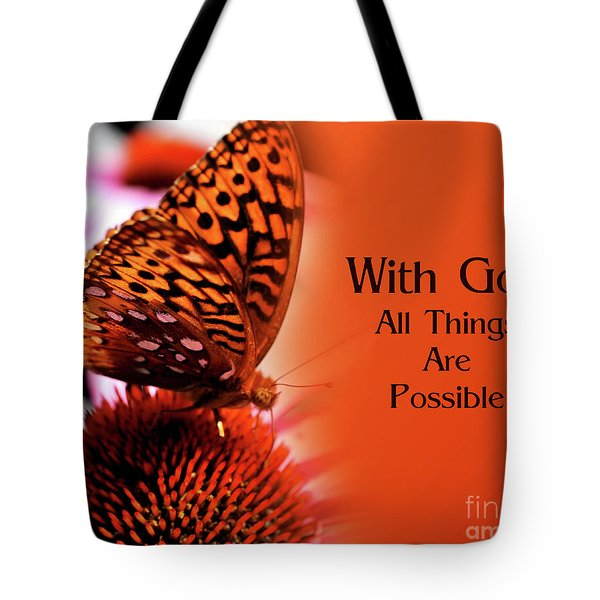 Butterfly With God Inspirational Tote Bag